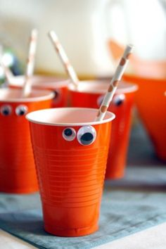 Monster Cups. Cute idea for a monster birthday party. Maybe for Noah?
