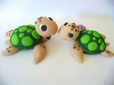 Sea Turtles -love! wedding cake toppers, baby shower cakes, wedding cakes, polym clay, groom cake, polymer clay, sea turtles, amigurumi, baby showers