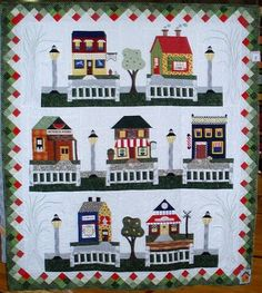 Scrappy Happy Houses, artist unknown, for the house #quilt challenge at the Diablo Valley Quilt Show 2011 (California) - i love how they all have picket fences!