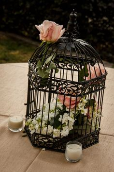 The black birdcage reminds me of wrought iron gates, & would be beautiful for a secret garden themed wedding.