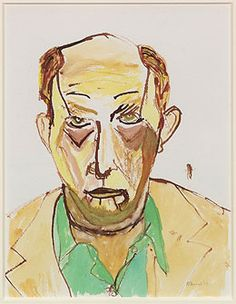 Self-portrait watercolor painting by A.R. Ammons, dated 1977.