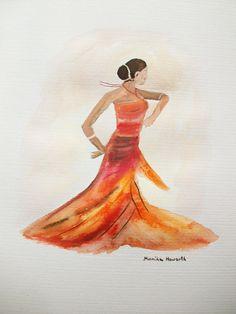 Spanish dancer art original watercolor painting 10 by artbymonika, £35.00