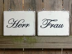 CUSTOM Wood Wedding Signs.  Made to Order. HANDPAINTED. Herr and Frau German Mr. and Mrs. Hanging Chair Signs.. $35.00, via Etsy.