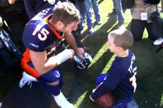 """Did you know that for every single game Tim Tebow has, he gets Bronco tickets for a child who is suffering from a life threatening illness.They are not any tickets, they are 30 yard line tickets. He puts the whole family up in a very nice hotel, buys them dinner, sees them shortly before kickoff, gives them special passes, introduces them to his teammates and coach, talks and hangouts with them for about an hour after every single game, and finally walks them to their car and gives the child a gift basket filled with amazing """"goodies"""". So while the rest of the world is either jeering at him or cheering for him; after every game, he is sitting there talking to a child about their favorite TV shows and favorite foods. ----He gets it."""