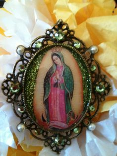 Mexican Our Lady of Guadalupe Virgin Mary Green Necklace and Brooch