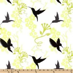 44'' Wide Michael Miller Flora And Fauna Humming Birds White byMichael Miller Fabrics