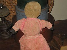 "Pencil face doll with pink calico dress...............15""....."