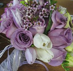 soft purple roses with white tulips