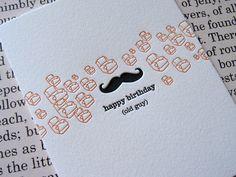 Letterpress Notecard - happy birthday old guy