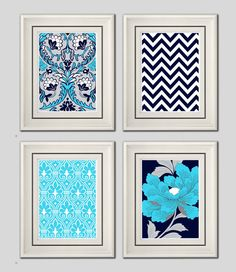 Set of Four Modern Vintage Turquoise/Navy Wall Art - Print Set - Home Decor - 8x11 Prints (Unframed). $35.00, via Etsy.
