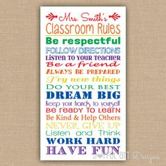 Classroom Rules sign. Great for first day of school, last day of school, teacher appreciation, birthday or Christmas gift. Classroom decor. $11.00 birthday, teacher appreciation, classroom decor, classroom rule, office supplies, breakfast nooks, christma gift, last day of school teacher, rule sign