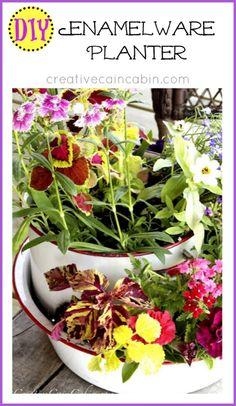 DIY Enamelware Planter