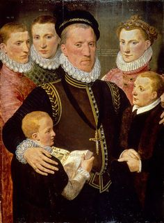 A portrait of George, 7th Lord Seton (1531–1586) aged 39 and his 5 children. By Frans Pourbus the Elder, 1570.-  The ages of the elder children on the canvas, left to right: 12, 19 and the girl Margaret, 15. Another son, George, died in 1562.