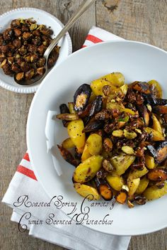 Roasted Spring Carrots with Cumin Scented Pistachios