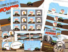 Monster Truck Monster Jam Custom Party by 3LittleMonkeysStudio, $35.00