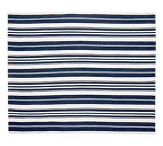 Navy Oxford Stripe Indoor/Outdoor Rug