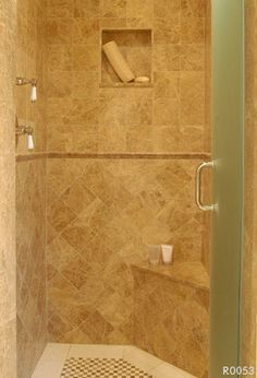 small shower with built-ins - this might work for our small master shower....