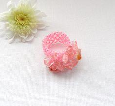 Pink Ring  Adjustable Ring  Rock Crystal Chips by CraftsbySigita,