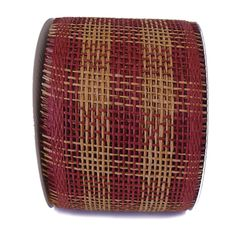 "Paper Mesh Check Color: Burgundy and Natural 4"" x 20 yd Material: Paper"