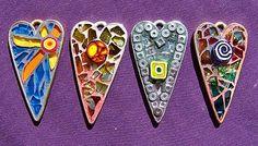 glass mosaic jewelry heart pendants