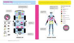 Burning fuel: car vs. human #fuel #burning #human #infographic #infographics
