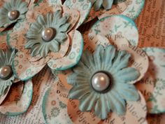 NEW Paper Flowers  Set of 3  Robin's Egg Blue by PaperPastiche, $4.95
