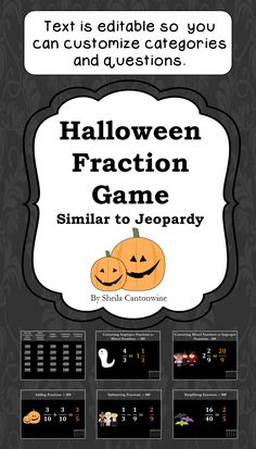 Looking for an easy way to review Fractions during the Halloween season? This is it! With 25 questions, students will have lots of review and they'll enjoy the Halloween themed clip art and color scheme. All the text boxes are editable so you can customize all the categories and questions for your class.