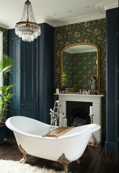 Vintage styled bathroom with claw foot bath.