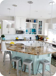 aqua and white kitchen with painted backsplash wall colors, stool, paint colors, white cabinets, kitchen islands, countertop, blues, diy projects, white kitchens