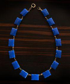 1920-30's Art Deco Blue Glass Necklace