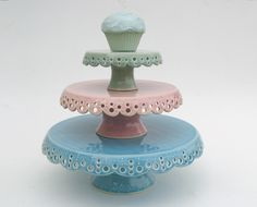 Lace cake plates set of 3 in spring colors MADE by vesselsandwares, $400.00