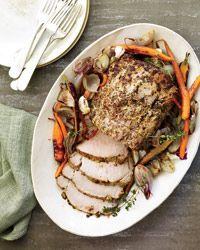 Mustard-and-Lemon-Glazed Pork with Roasted Vegetables Recipe on Food & Wine