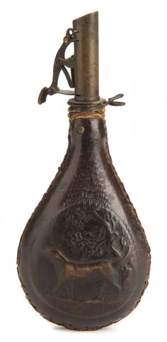 This four-pound capacity leather and brass powder flask belonged to First Sergeant Mathew Marvin of Company K, 1st Minnesota Volunteer Infantry Regiment. Marvin, of Winona, Minnesota, served with the 1st Minnesota from 1861 until 1864. He fought, and was wounded, in the Battles of First Bull Run and Gettysburg.
