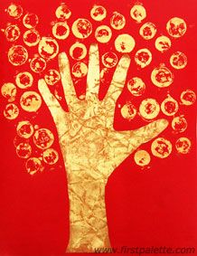 Chinese Coin Tree handprint craft