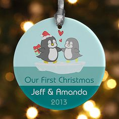 "This penguin design is adorable!!!! Cute ""Our First Christmas"" ornament idea for newlyweds!"