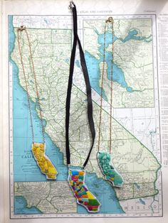 Hand embroidered map, custom made necklace of California.