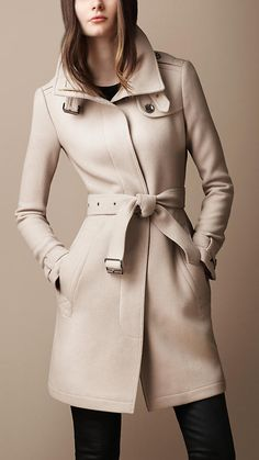 #Burberry Belted Collar Wool Coat