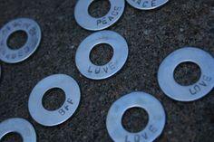 Washers. @Allison Joyner I know how you like jewelry made from hardware!
