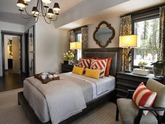 New neutrals, like charcoal, gray and greige (a mix of gray and beige), create a backdrop for burnt orange and sunflower yellow. - Master Bedroom Pictures From HGTV Dream Home 2014 on HGTV