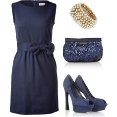Navy dress and that bracelet!