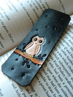 Leather Bookmark - Wise Owl - Hand Carved and Tooled - Original Starry Night Owl Design - Hedwig Harry Potter. $15.00, via Etsy.
