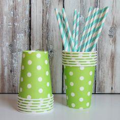 green polka dot cups