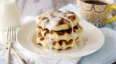 Cinnamon Roll Waffles with Cream Cheese Glaze