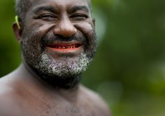 Mister Willy betel smile - Papua New Guinea  Burka island man, Bougainville, with a betel smile, not a lipstick one! Bougainville island, Autonomous Region of Bougainville, Papua New Guinea
