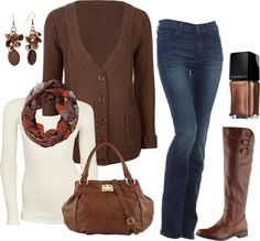 all i need is the brown cardigan and the scarf then this outfit is complete