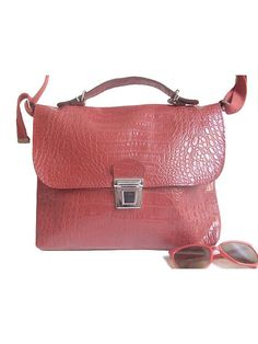 90s vynil SATCHEL red croco embossed by lesclodettes on Etsy