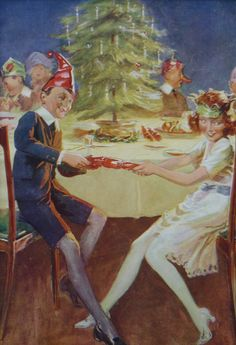 1920s Vintage Print Of A Christmas Party Happy by PrimrosePrints