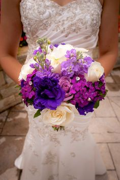 purple, pink and ivory wedding bouquet