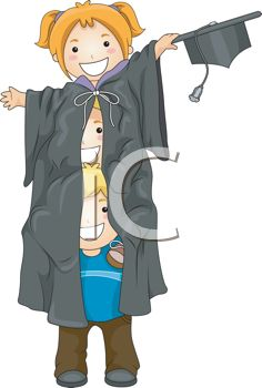 iCLIPART - Royalty Free Clipart Image of Three Children Piled Under a Graduation Robe
