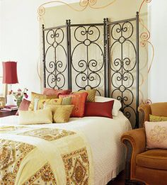 headboard idea, headboards, diy headboard, wrought iron, de cama, master bedroom, bedroom headboard, decor idea, bedroom color